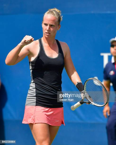 Richel Hogenkamp of the Netherlands reacts during her match against Arina Rodionova of Australia on Day One of the 2017 US Open at the USTA Billie...