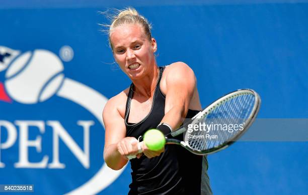 Richel Hogenkamp of the Netherlands returns a shot to Arina Rodionova of Australia on Day One of the 2017 US Open at the USTA Billie Jean King...