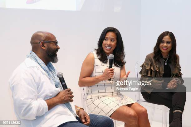 Richelieu Dennis Michelle Ebanks and Angela Yee speak onstage during the Essence MADE 2018 Upfronts at EZ Studios on May 10 2018 in New York City