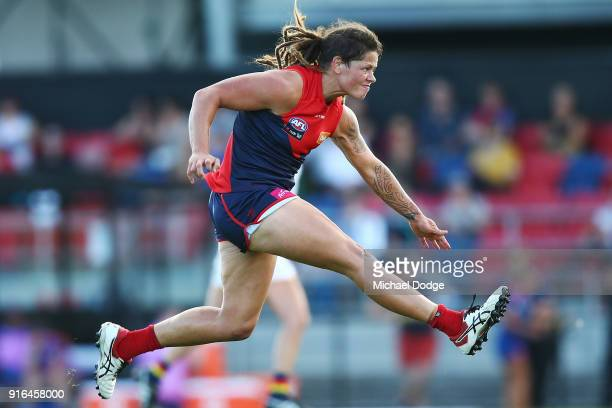Richelle Cranston of the Demons kicks the ball during the round two AFLW match between the Melbourne Demons and the Adelaide Crows at Casey Fields on...