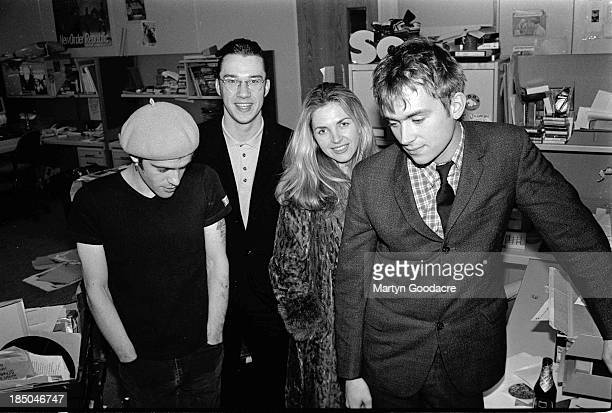 Richey Edwards of Manic Street Preachers TV presenter Mark Lamarr Sarah Cracknell fo St Etienne and Damon Albarn of Blur at the NME offices in London...