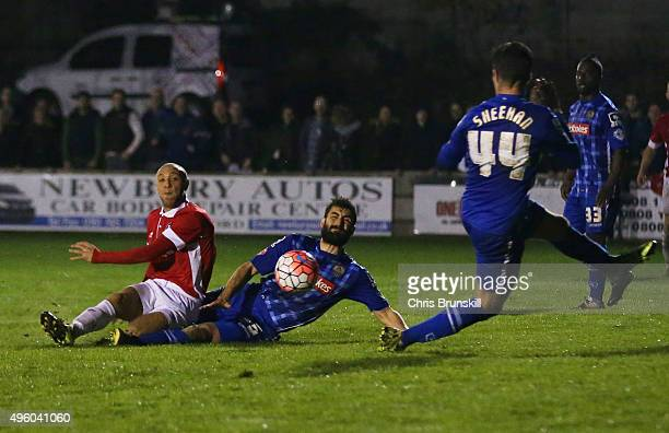 Richie Allen of Salford City scores their second goal during the Emirates FA Cup first round match between Salford City and Notts County at Moor Lane...