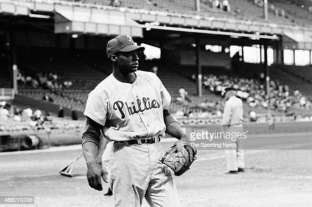 Richie Allen of the Philadelphia Phillies warms up during the 1964 season