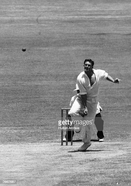 Richie Benaud the Australian allrounder bowling during a match in Sydney