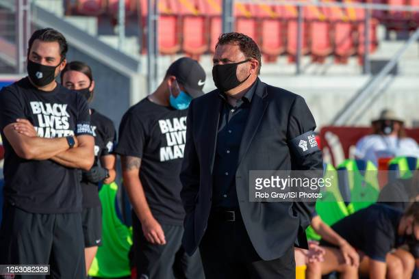 Richie Burke Head Coach of Washington Spirit during pre-game during a game between Washington Spirit and Chicago Red Stars at Zions Bank Stadium on...
