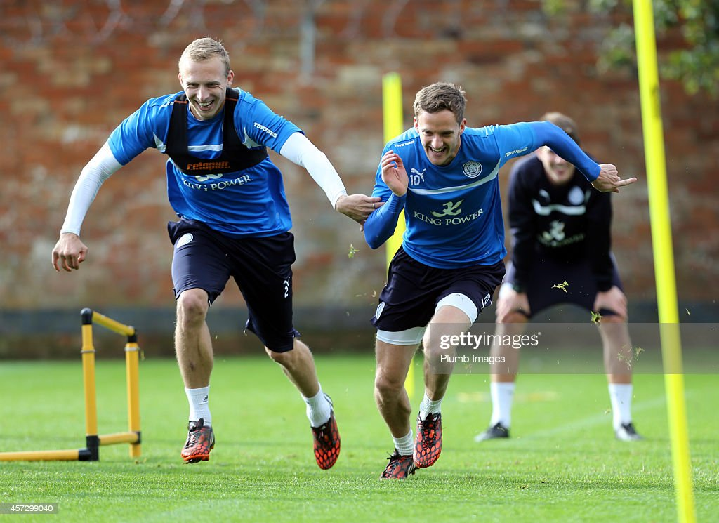 Richie De Laet (left) and Andy King during the Leicester City training session at Belvoir Drive Training Ground on October 16, 2014 in Leicester, England.