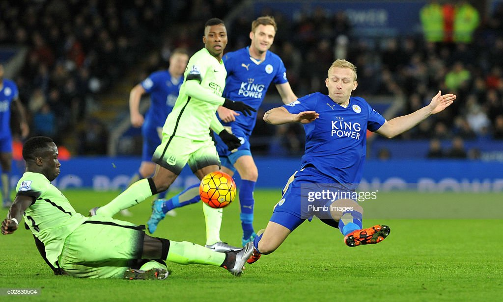 Richie De Laet of Leicester City in action with Bacary Sagna of Manchester City is substituted in the second half during the Barclays Premier League match between Leicester City and Manchester City at the King Power Stadium on December 29th , 2015 in Leicester, United Kingdom.
