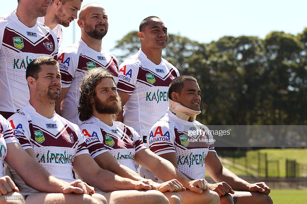 Richie Fa'aoso wears a neck brace during the team photo at the Manly Sea Eagles NRL Grand Final media day at Brookvale Oval on September 30, 2013 in Sydney, Australia.