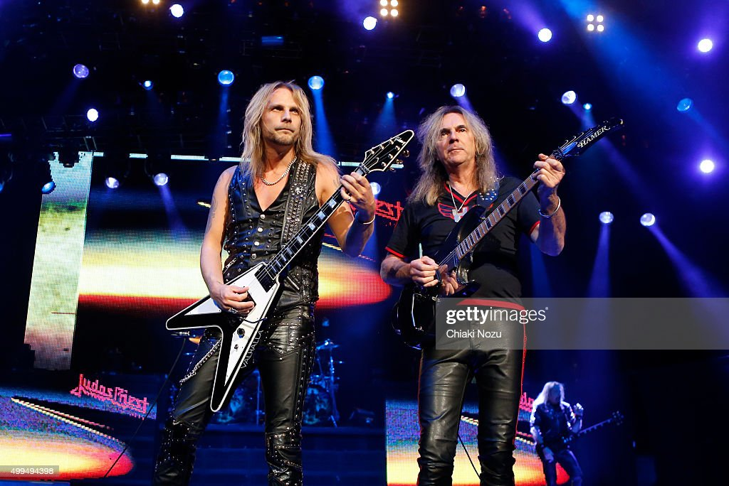 Richie Faulkner and Glenn Tipton of Judas Priest perform at O2 Academy Brixton on December 1, 2015 in London, England.
