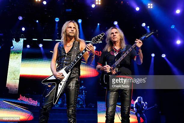 Richie Faulkner and Glenn Tipton of Judas Priest perform at O2 Academy Brixton on December 1 2015 in London England