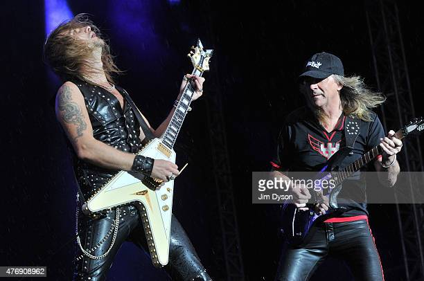 Richie Faulkner and Glenn Tipton of Judas Priest perform live on stage during Day 1 of the Download Festival at Donington Park on June 12 2015 in...