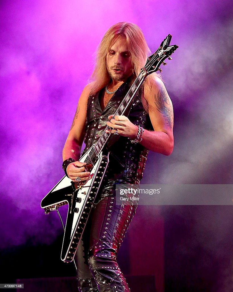 Richie Faulkner of Judas Priest performs in concert at the Cedar Park Center on May 14, 2015 in Cedar Park, Texas.
