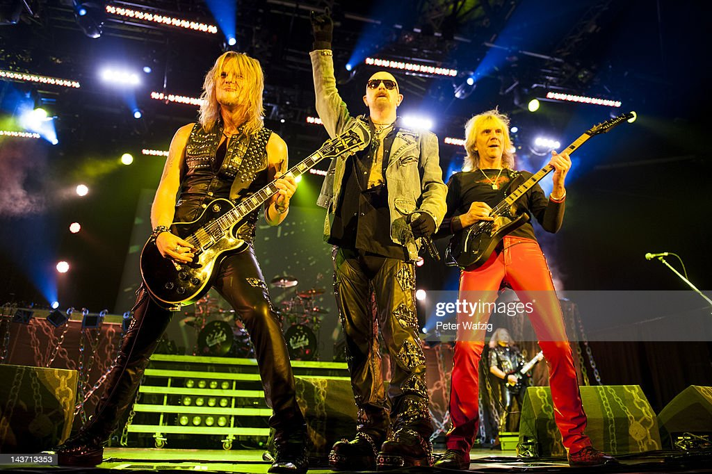 Richie Faulkner, Rob Halford and Glenn Tipton (L-R) of Judas Priest performs on stage at the Mitsubishi-Electric-Hall on May 01, 2012 in Duesseldorf, Germany.