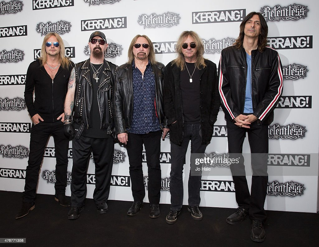 Richie Faulkner, Rob Halford, Ian Hill Bass, Glenn Tipton and Scott Travis of the band Judas Priest attend the Relentless Energy Drink Kerrang! Awards at the Troxy on June 11, 2015 in London, England.