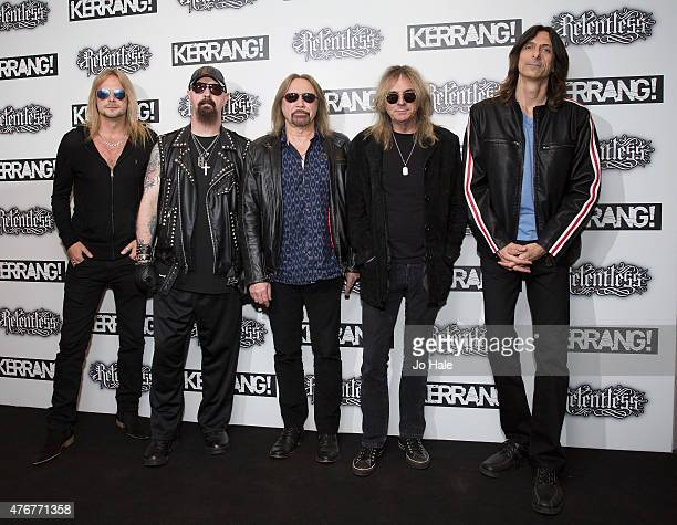 Richie Faulkner Rob Halford Ian Hill Bass Glenn Tipton and Scott Travis of the band Judas Priest attend the Relentless Energy Drink Kerrang Awards at...