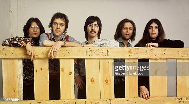Richie Furay, Rusty Young, George Grantham, Paul Cotton and Timothy B Schmit of Poco pose for a group portrait in 1973 in Amsterdam, Netherlands.