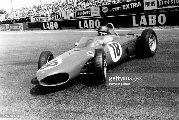 Richie Ginther Ferrari 156 Grand Prix of France ReimsGueux 02 July 1961 Spin for richie Ginther's Ferrari 156 on the cobblestones of the Reims circuit