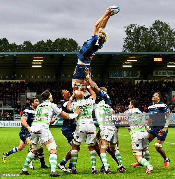 Richie Gray from Castres in action during the French Top 14 rugby union match between Castre v Pau on April 30 2016 in Castres France