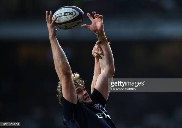 Richie Gray of Scotland catches the ball during the RBS Six Nations match between England and Scotland at Twickenham Stadium on March 11 2017 in...