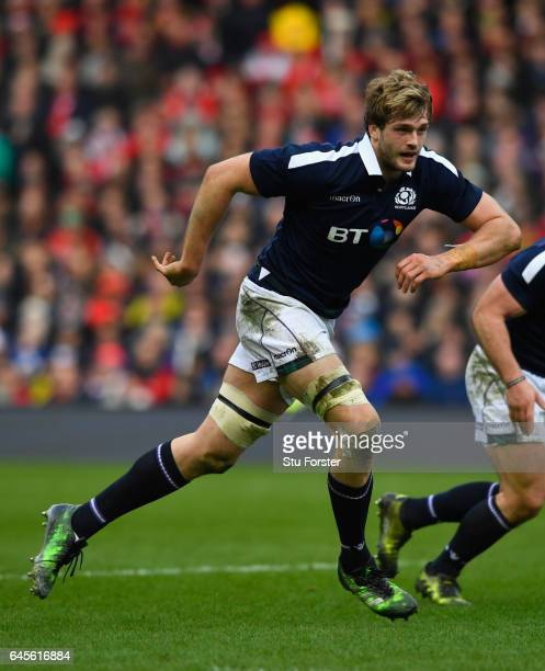 Richie Gray of Scotland in action during the RBS Six Nations match between Scotland and Wales at Murrayfield Stadium on February 25 2017 in Edinburgh...
