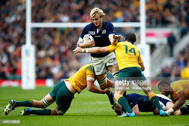 Richie Gray of Scotland takes on the Australia defence during the 2015 Rugby World Cup Quarter Final match between Australia and Scotland at...