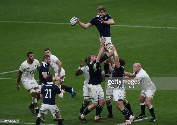 Richie Gray of Scotland wins the lineout ball during the RBS Six Nations match between England and Scotland at Twickenham Stadium on March 11 2017 in...
