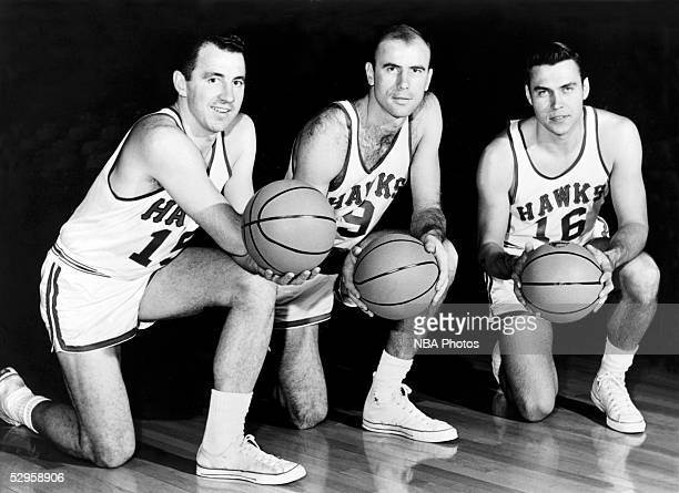 Richie Guerin Bob Pettit Cliff Hagan of the St Louis Hawks pose for a portrait circa 1955 NOTE TO USER User expressly acknowledges and agrees that by...