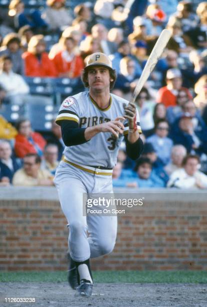Richie Hebner of the Pittsburgh Pirates bats against the Chicago Cubs during a Major League Baseball game circa 1976 at Wrigley Field in Chicago...