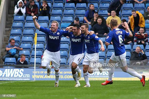 Richie Humphreys of Chesterfield celebrates after scoring to make it 10 during the Sky Bet League Two match between Oxford United and Chesterfield at...