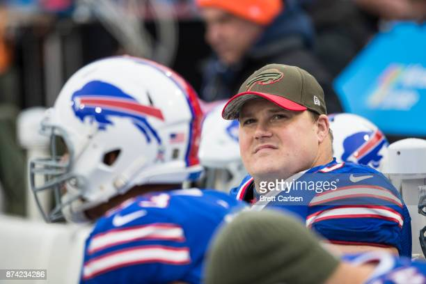 Richie Incognito of the Buffalo Bills looks to the video screen during the fourth quarter against the New Orleans Saints at New Era Field on November...
