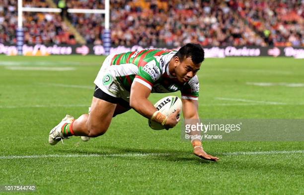 Richie Kennar of the Rabbitohs scores a try during the round 23 NRL match between the Brisbane Broncos and the South Sydney Rabbitohs at Suncorp...