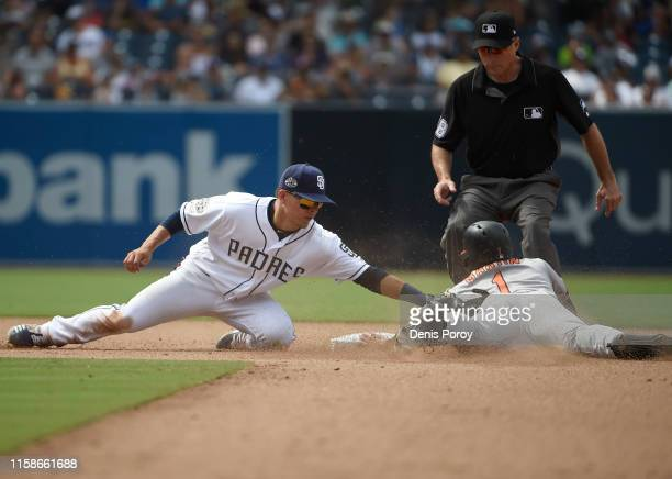Richie Martin of the Baltimore Orioles steals second base ahead of the tag of Luis Urias of the San Diego Padres during the eighth inning of a...