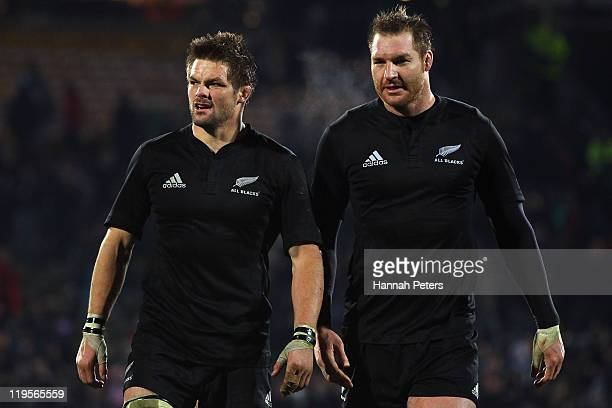 Richie McCaw and Ali Williams of the All Blacks walk off after winning the International Test match between the New Zealand All Blacks and Fiji Bati...