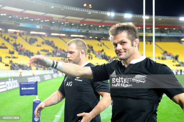 Richie McCaw and Ben Franks walk off the field following The Rugby Championship match between the New Zealand All Blacks and the South Africa...