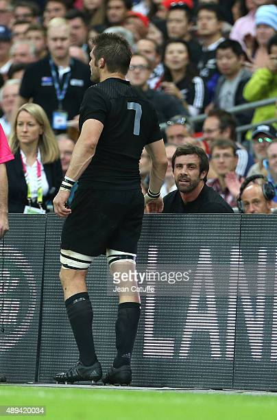 Richie McCaw and Conrad Smith of New Zealand are both sidelined after receiving a yellow card during the Rugby World Cup 2015 match between New...