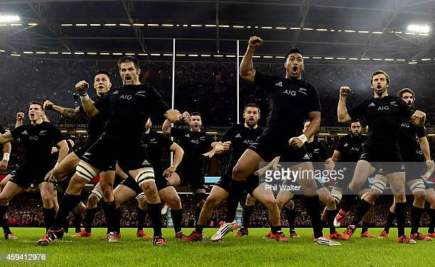 Richie McCaw and Julian Savea perform the haka before the Intenational match between Wales and the New Zealand All Blacks at the Millennium Stadium...