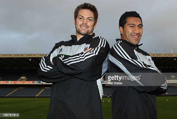 Richie McCaw and Mils Muliaina of the All Blacks pose for a portrait during a New Zealand All Blacks Captain's Run at Peffermill on November 12 2010...