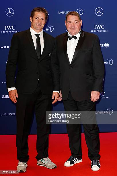 Richie McCaw and Steven Hansen attend the Laureus World Sports Awards 2016 at the Messe Berlin on April 18 2016 in Berlin Germany