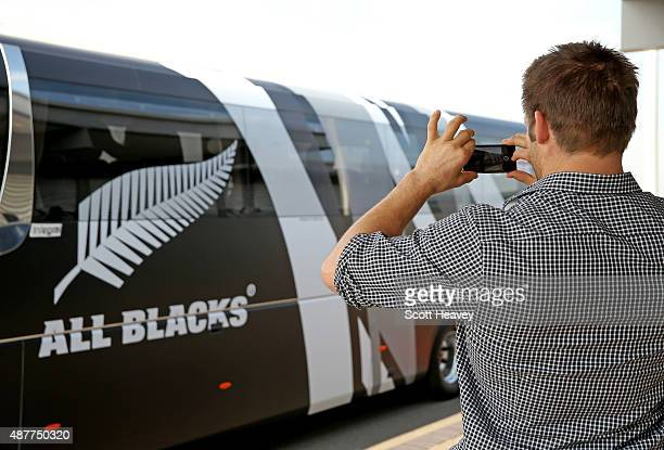 Richie McCaw and the New Zealand All Blacks arrive at Heathrow Airport for the Rugby World Cup on September 11 2015 in London England