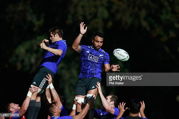 Richie McCaw and Victor Vito of the All Blacks practice the lineout during a New Zealand All Blacks training session at Sophia Gardens on September...