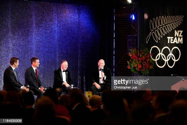 Richie McCaw, Dan Carter, Sir John Key and Mike Tindall attend the New Zealand Olympics Committee Gala Dinner on October 31, 2019 in Tokyo, Japan.