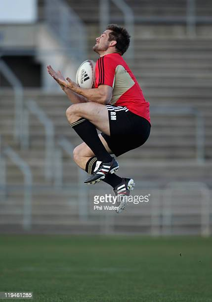 Richie McCaw gets under the high ball during a New Zealand All Blacks Captain's Run at Carisbrook on July 21, 2011 in Dunedin, New Zealand.