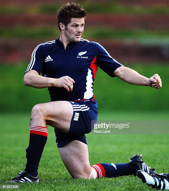 Richie McCaw in action during a New Zealand All Blacks training session at Rugby League Park on June 5, 2008 in Wellington, New Zealand.