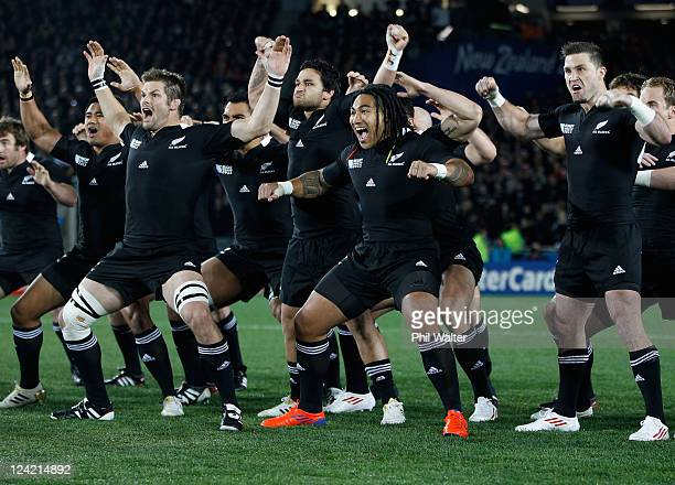 Richie McCaw leads the All Blacks as they perform the Haka during the IRB 2011 Rugby World Cup Pool A match between New Zealand and Tonga at Eden...