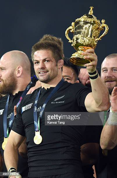 Richie McCaw lifts the Webb Ellis Cup after New Zealand defeated Australia in the Rugby World Cup Final at Twickenham Stadium on October 31 2015 in...
