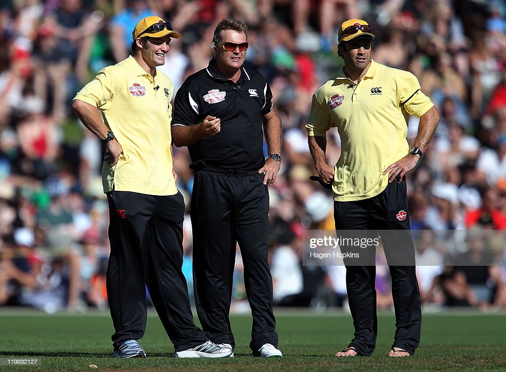 Richie McCaw, Martin Crowe and Conrad Smith look on during the Christchurch Earthquake Relief Charity Twenty20 match at Basin Reserve on March 13, 2011 in Wellington, New Zealand.