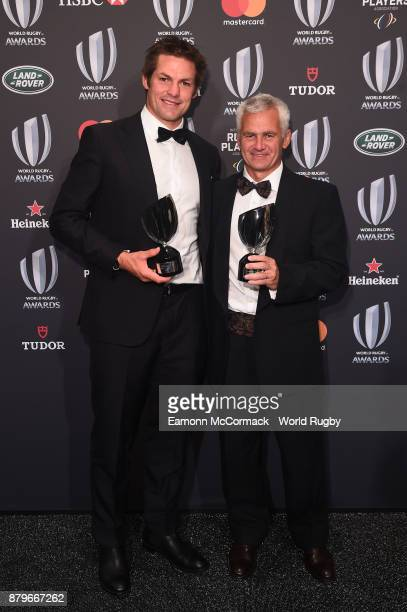 Richie McCaw of New Zealand and Eduardo 'Coco' Oderigo pose during the World Rugby Awards 2017 in the Salle des Etoiles at MonteCarlo Sporting Club...