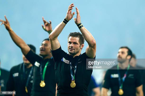 Richie McCaw of New Zealand applauds the fans during the lap of honour to celebrate victory in the 2015 Rugby World Cup Final match between New...
