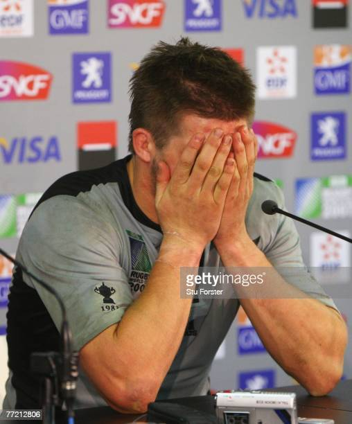 Richie McCaw of New Zealand can't hide his disappointment at the postmatch press conference during the Quarter Final of the Rugby World Cup 2007...