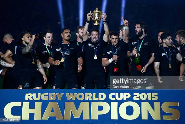 Richie McCaw of New Zealand holds aloft the Webb Ellis Cup after victory in the 2015 Rugby World Cup Final match between New Zealand and Australia at...